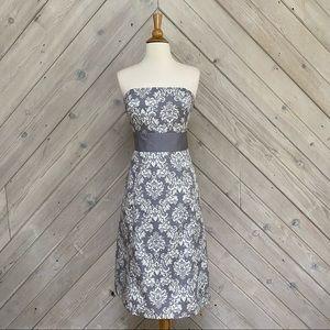 Ann Taylor Loft Damask Print Strapless Dress